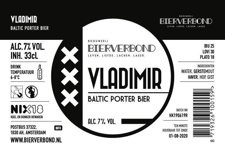 Vladimir etiket van Brouwerij Bierverbond Amsterdam