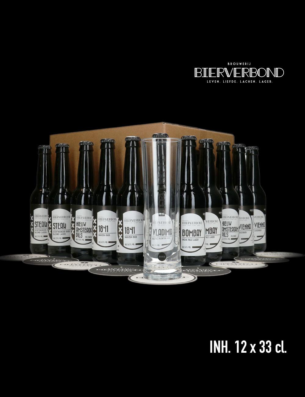 Mix&Match 12 verschillen flesjes bier van Brouwerij Bierverbond Amsterdam