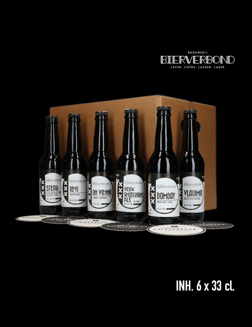 Mix&Match 6 verschillen flesjes bier van Brouwerij Bierverbond Amsterdam