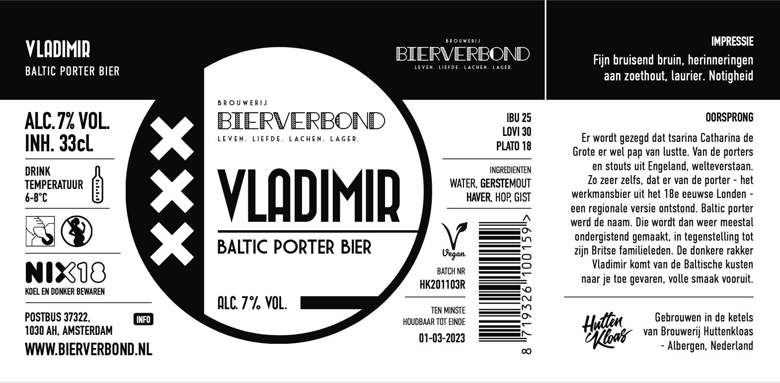 Het nieuwe etiket van Bierverbond Vladimir van Bierverbond Amsterdam