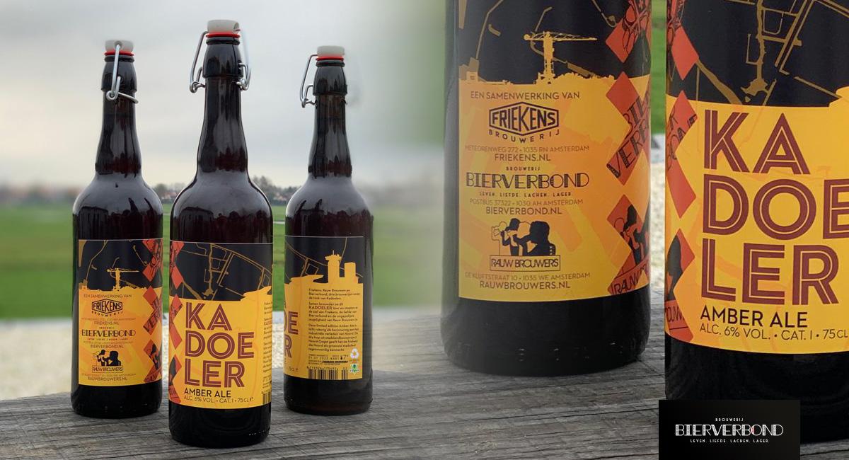 Kadoeler bier in speciale fles is een collab met Friekens, Rauw Brouwers en Bierverbond.